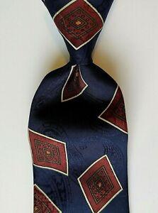 Vintage Robert Talbott Studio Silk Tie Navy Multicolor Geo Medallions EUC
