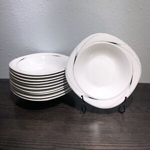 """CAVIAR by Mikasa Set of (4)Rimmed Soup & Salad Bowls 8 1/2"""" Japan Retired (2003)"""