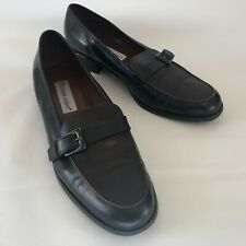 Etienne Aigner Loafers Carver Slip On Shoes Black Brown Leather Women's Sz 10N