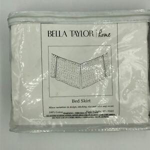 "VHC Brands Twin Bed Skirt 39"" x 77"" x 16"" drop Rochelle Grey 100% Cotton NIP"