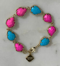 Kendra Scott Brynn Color Block Link Bracelet Gold Tone Rare