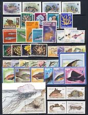 Fish and marine life mnh vf stamp collection on 2 pages