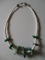 vintage Native American Turquoise & Shell Heishi Bead Necklace