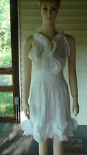 Moon River~White Sleeveless Cotton/Polyester Ruffled Dress~Large (S/M)~N/W/T