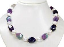 de Diseño Collar de Fluorita con cadena de concha de perlas