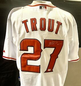 Mike Trout Inscribed '07 AL ROY Signed Majestic Jersey Autographed Auto COA