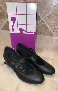 """USA MADE Tic Tac Toes Black Leather Square Swing Dance Shoes sz 6.5, 1.5"""" Heel"""