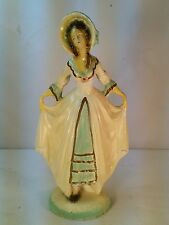 Vtg Lady Colonial Period Dress Chalkware Carnival Prize? Figurine Statue