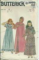 B 3990 sewing pattern girl's Granny GOWN NIGHTGOWN raglan sleeves ROBE size 14