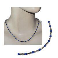 Collier argent massif 925 perles d'argent et perles de cristal bleu 44cm bijou