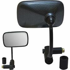 Parts Unlimited - 0640-0930 - Bar End Mirrors, Rectangular - Carbon Look