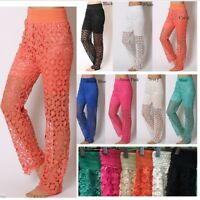 Korean Womens Sweet Cute Crochet Tiered Lace Pants Sexy Pants Fashion