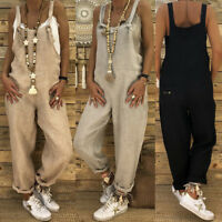 Otoño Moda Mujer Informal Algodón Lino Mono Sólido Pantalones Mono Talla Grande