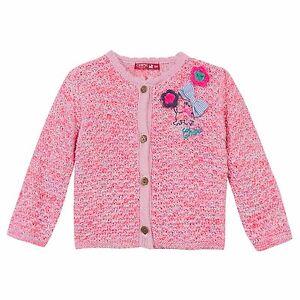 CHIPIE Strickjacke meliert rosa pink Hund Schleife Blume  62 68 87 80 86 92  NEU
