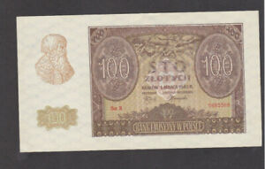 100 ZLOTYCH AUNC BANKNOTE FROM  GERMAN OCCUPIED POLAND 1940 PICK-97