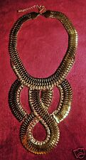 Fashion gold snake long pendant designer collar necklace with rhinestones.
