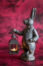 More details for hare with lantern figurine ornament decoration tea light holder