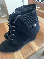 MICHAEL KORS Black Suede Lace Up Wedge Ankle Boots UK 8