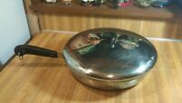 """Vintage 1801 Revere Ware Stainless Steel 12"""" Skillet/Lid,copper clad,vg!"""
