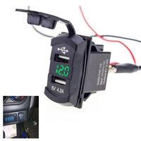 AUTO 12V Dual USB Socket Ladegerät Schalter Panel Boot KFZ Voltmeter Steckdose