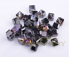 6mm 50pcs Black Half Colorized Faceted Cube Square Crystal Glass Loose Beads
