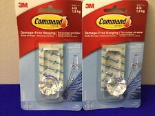 NEW 3M Command TWO 2 Large Clear Crystal Hook Damage Free Hanging Holds 4lb (E8)