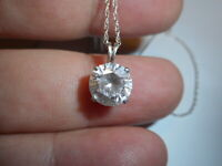 Vintage 2.5ct Solitare Brilliant Open Back Crystal Sterling Silver Necklace mint