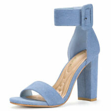 Allegra K Women's Block Heel Zipper Buckle Ankle Strap Sandals Denim Blue ~ US 8