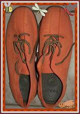 EUC 13M Crocs Orange Men's Brown Tie LEATHER SlipOn Oxford Casual Dress Shoes