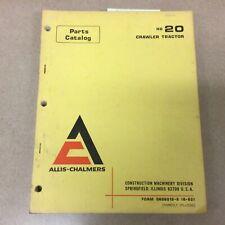 Fiat Allis Chalmers Hd20 Crawler Tractor Dozer Parts Manual Catalog Book List