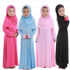Child Abaya Girls Cotton Dress Hijab Arab Muslim Islamic Kids Maxi Kaftan Jilbab
