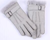 Leather Fleece Fur Gloves Solid Fashionable Warm Mitten For Kids Baby Boys Girls