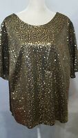 Cato Women's Blouse Top Size 18/20W Sequin Sparkle Short Sleeve V Back