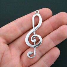 6 Treble Clef Charms Antique Silver Tone Huge Size - SC3638