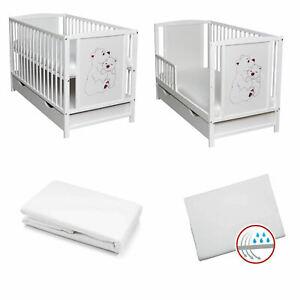 Babybett Schutzgitter 2in1 Gitterbett + Laken Weiß 120x60 Schublade Matratze