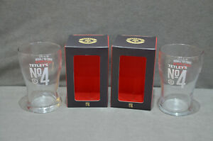 2x Tetley's No 4 Premium Lager One Pint 20oz Beer Glass In Gift Box CE M21 2021