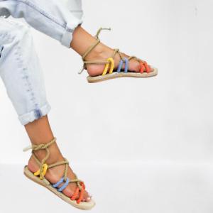 Women Casual Weaving  Hemp Rope Toe Beach Sandals Slippers Cross Tied Shoes #