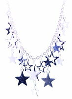 Silver tone dangling star chandelier necklace