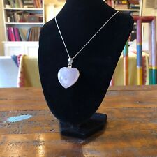Large Vintage Sterling Silver Rose Quartz Love Heart Pendant With Chain