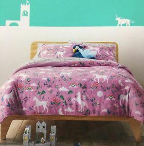 Pillowfort Purple Unicorn Full Queen Comforter Set, 3 Piece Rainbows & Flowers