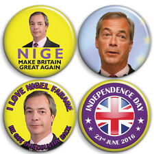 NIGEL FARAGE Fan BREXIT Leave Voters - 4 x Button Badge Set - 25mm 1 inch Funny