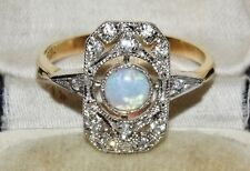 9ct Yellow Gold on Silver Opal Cabochon Art Deco Design Ring - size N