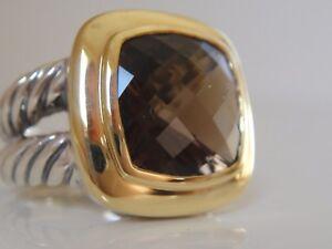 $890 DAVID YURMAN 18/K GOLD,SS ALBION SMOKY QUARTZ  RING sz 6