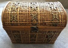 "VINTAGE 1960'S wicker WOOD chest Brass accents 14""x10""x11"" Storage Gently Used"