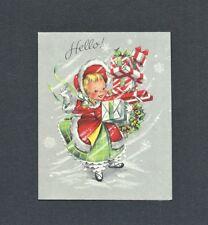 '50s Little Girl, Fur Trimmed Coat, Armsful of Gifts Vtg HALLMARK Christmas Card