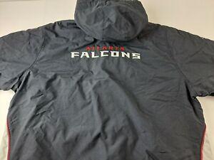 Vintage Atlanta Falcons 2XL Hooded Jacket NFL Reebok Windbreaker Fleece Lined