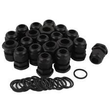 5X(20 Pcs M20 Black Plastic 6-12mm Dia Waterproof Cable Glands Connector L7 X0F0