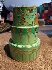 Benefit 3 Tier Wedding Cake Make Up Tin Green Gold Display Storage Decor EMPTY