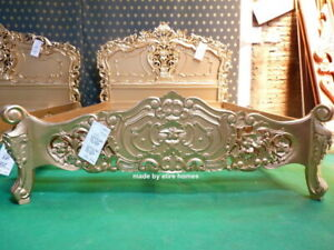 UK STOCK ~ 5' King size Mahogany French style furniture Baroque Gold Rococo Bed
