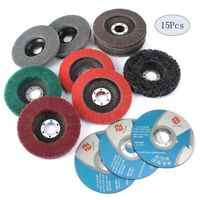 "15Pc 115mm 4.5""Grinding Wheel Disc Flap Disc Kit Abrasive Tool For Angle Grinder"